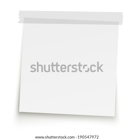 Note paper with adhesive strip - stock vector