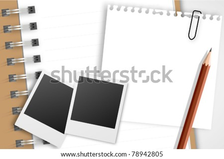Note paper with instant photo on notebook - stock vector