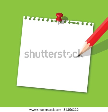 Note paper with pencil - stock vector