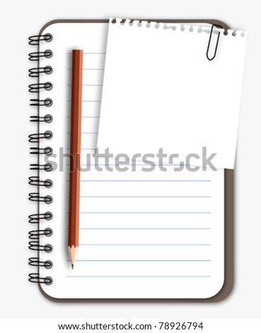 Note paper with pencil on notebook - stock vector