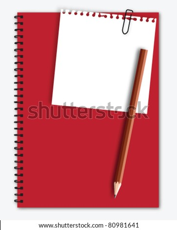 Note paper with pencil on red notebook - stock vector