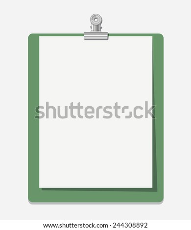 Note paper with place for your text and paper clip. - stock vector