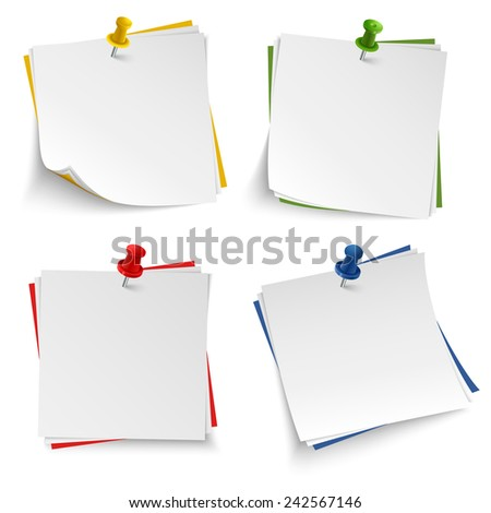 Note paper with push colored pin template