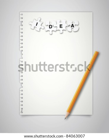 Note paper with puzzle idea - stock vector