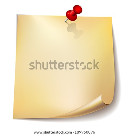 Note paper with red pin on white background    Vector illustration. - stock vector