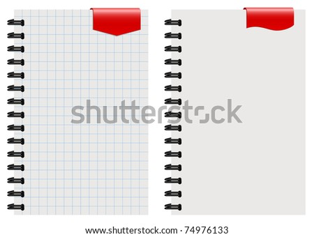 note paper with red tag - stock vector