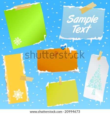 note paper with snow effect - stock vector