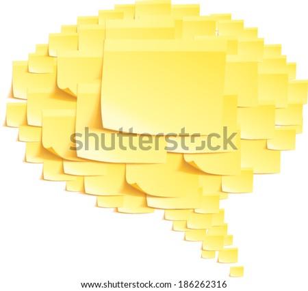 Note paper yellow Speech bubble blank - stock vector
