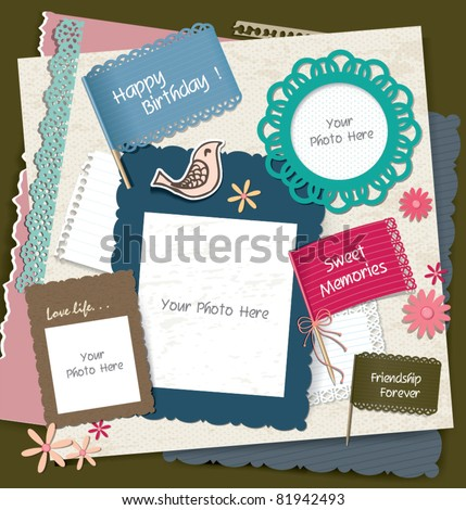 note papers, photo frames & scrapbook elements - stock vector