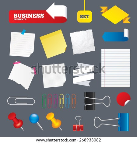 Note papers, web stickers, paper clips and labels. Pin or unpin symbols. Set of flat design elements. Collection of Office supplies. Vector