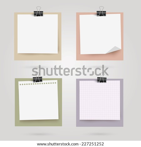 Note papers with place for your text. Vector illustration.  - stock vector