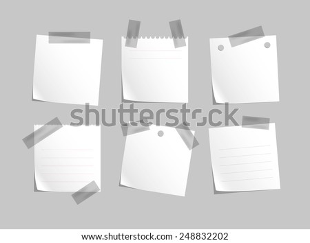 Note papers with sticky tape.Vector for business and office - stock vector