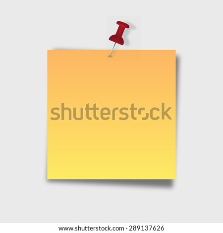 Note with a paper clip. Isolated on a grey background with a shadow - stock vector