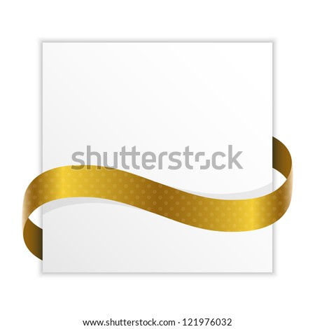 note with golden ribbon for your text - stock vector