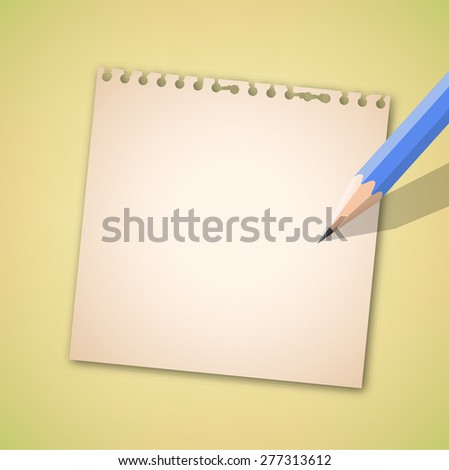 Notebook and blue pencil vector - stock vector