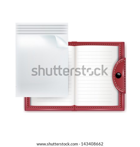 notebook and paper sheets isolated on white