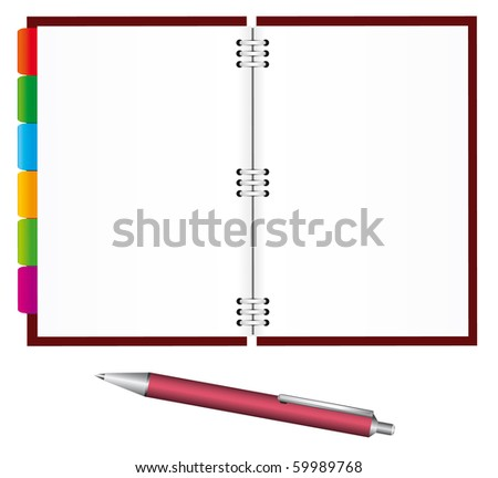 Notebook and pen for office. Vector illustration - stock vector