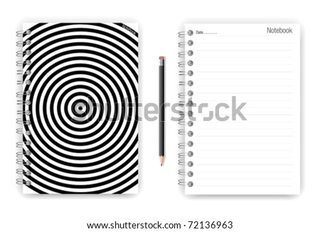 Notebook and pencil in black collection - stock vector
