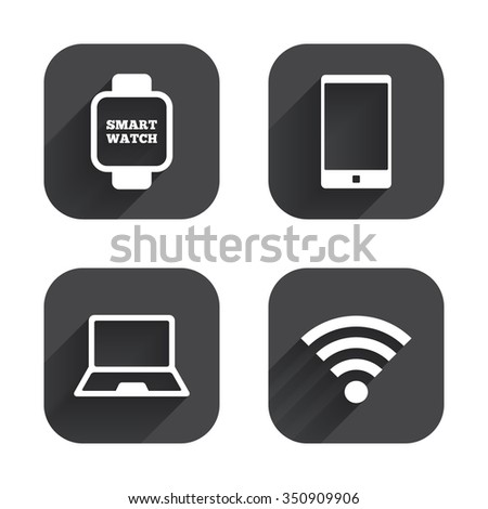 Notebook and smartphone icons. Smart watch symbol. Wi-fi sign. Wireless Network symbol. Mobile devices. Square flat buttons with long shadow. - stock vector