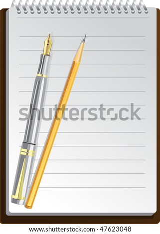 Notebook background in lines with pen and pencil - stock vector