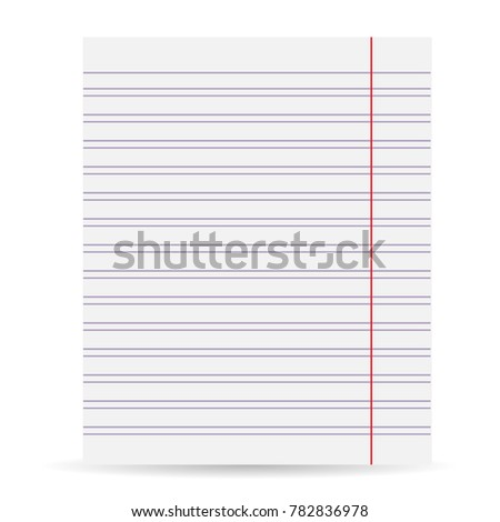 Notebook Blank Paper Background. A Sheet Of Paper In Line. Isolated On A  White  Blank Paper Background