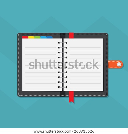 Notebook colorful tabs with line paper - stock vector