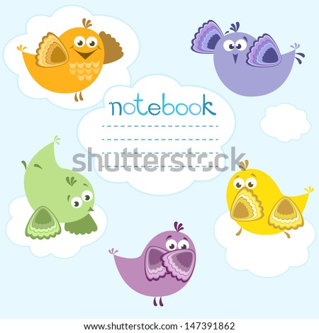 Notebook cover with birds on blue background and place for text. - stock vector