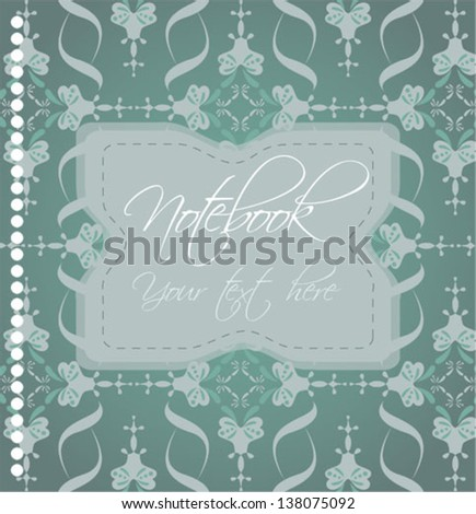 notebook cover with ornamental background - stock vector