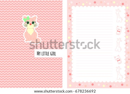 notebook cover with title my little girl for notes about baby girl newborn