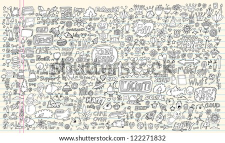 Notebook Doodle Design Elements Mega Vector Illustration Set - stock vector