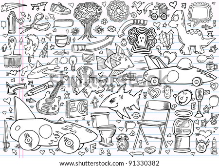 Notebook Doodle Design Elements sketch Vector Illustration Set - stock vector