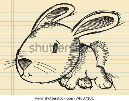 Notebook Doodle Sketch Easter Bunny Rabbit Vector Illustration Art - stock vector