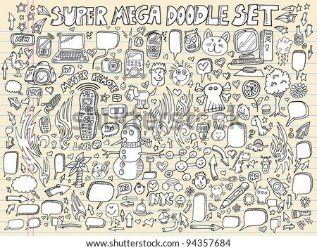 Notebook Doodle Sketch Speech Bubble Design Elements Mega Vector Illustration Set - stock vector