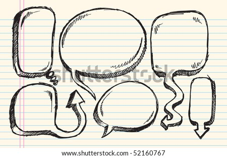Notebook Doodle Sketch Speech Bubble Vector Illustration Set