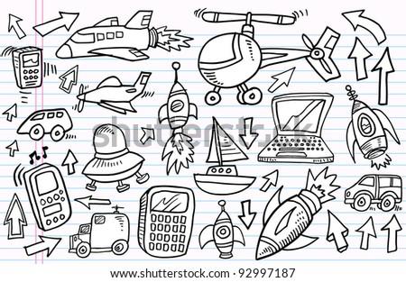 Notebook Doodle Sketch Transportation Technology Vector Illustration Set - stock vector