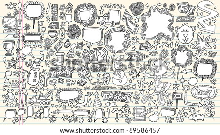 Notebook Doodle Speech Bubble Design Elements Mega Vector Illustration Set - stock vector