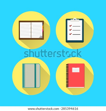 Notebook flat set icon. - stock vector