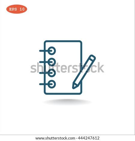 Notebook icon, notebook icon eps 10, notebook icon vector, notebook icon illustration, notebook icon jpg, notebook icon picture, notebook icon flat, notebook icon design, notebook icon web - stock vector