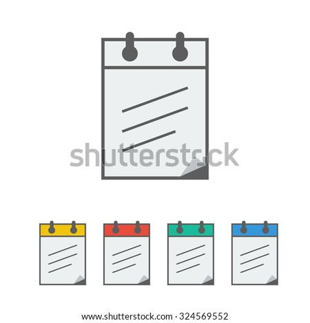notebook icon on the white background. Vector illustration.