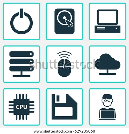 Notebook Icons Set Collection Power On Stock Vector 629235068 ...