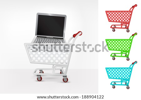 notebook in shopping cart colorful collection concept vector illustration - stock vector