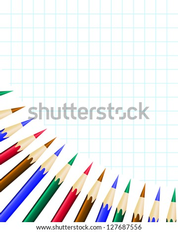 Notebook in the cells and set of colored pencils - stock vector