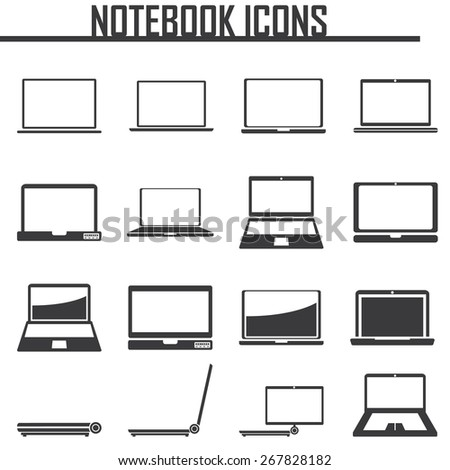 Notebook, Laptop Computers icons. vector illustration eps 10.