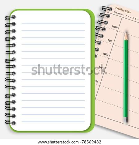 Notebook note paper - stock vector