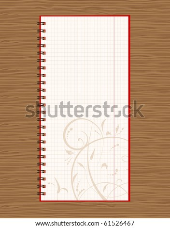 Notebook open page design on wooden background - stock vector
