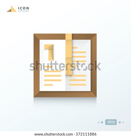 notebook  origami icon  paper design - stock vector