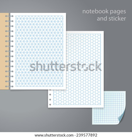 Notebook pages and sticker. Triangle, hexagon, square - stock vector