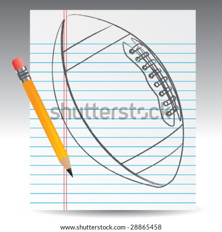 notebook paper and football - stock vector