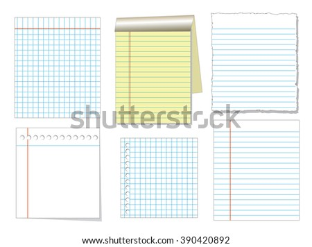notebook paper and sheet isolate on white background for memo, vector set - stock vector