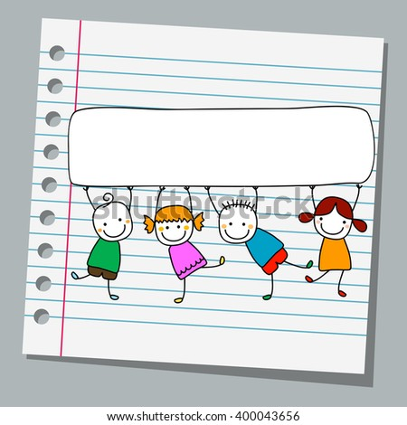 notebook paper happy kids with banner - stock vector